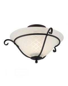 Elstead TCH/F Torchiere 1 Light Flush Ceiling Light In Black With Glass Shade