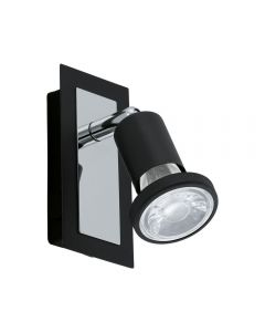 Eglo 94963 Sarria 1 Light Wall Spotlight In Black And Chrome
