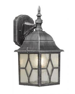 Traditional Black Silver Outdoor Leaded Glass Wall Lantern Light