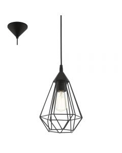 Eglo 94187 Tarbes 1 Light Ceiling Pendant Light In Black - Diameter: 175mm