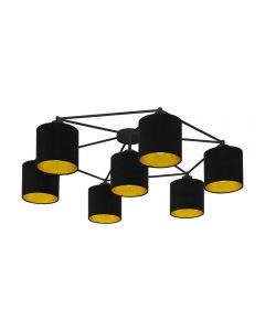 Eglo 97895 Staiti 7 Light Ceiling Light In Black With Fabric Shades