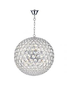 Dar FIE0850 Fiesta 8 Light Crystal Globe Pendant Ceiling Light