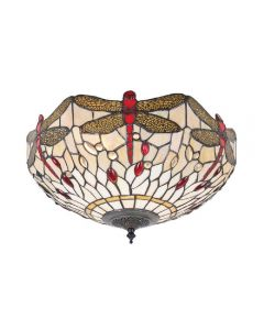 Interiors 1900 70723 Dragonfly Beige Tiffany Medium 2 Light Flush Ceiling Light