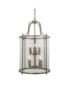 Hakka Large Antique Brass 8 Light Round Hanging Hall Lantern