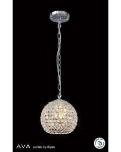 IL30190 Ava 3 Light Chrome And Crystal Ceiling Pendant