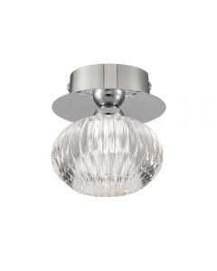 C5749 Lizzy 1 Light Flush Ceiling Light In Chrome With Clear Modern Effect Glass