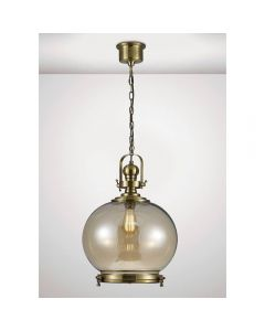 Diyas IL31598 Riley 1 Light Large Globe Pendant In Antique Brass - Dia: 400mm