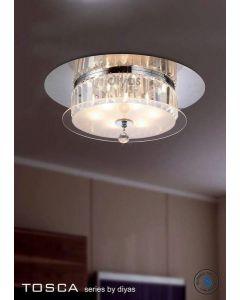 IL30242 Tosca Chrome 6 Light Flush Crystal Ceiling Lamp