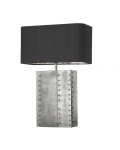David Hunt Lighting RIV4367 Rivet Table Lamp In Pewter And Chrome, Base Only