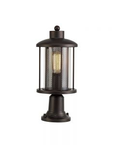 Purton 1 Light Exterior Pedestal Light In Antique Bronze And Clear Glass