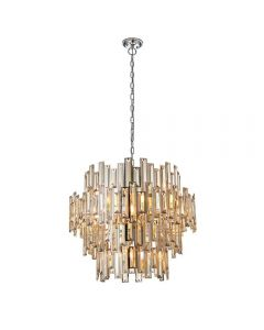 15 Light Ceiling Pendant Light In Chrome Plate And Champagne Crystal