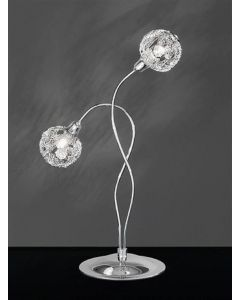T967 Atoms 2 Light Chrome Crystal Table Lamp
