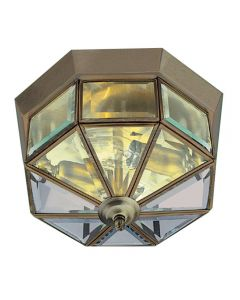 Searchlight 8235AB Flush Ceiling Light In Antique Brass With Bevelled Glass