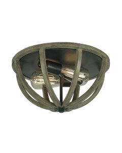 FE/ALLIER/F WW Allier 2 Light Oak Wood and Iron Flush Mount Light