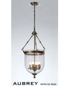 IL31077 Aubrey 4 Light Antique Brass Ceiling Pendant