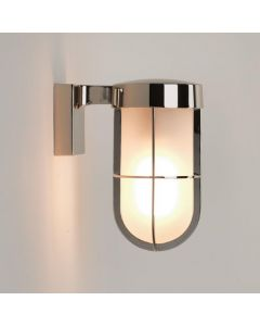 Astro 1368006 Cabin One Light Outdoor Wall Light In Polished Nickel With Frosted Glass