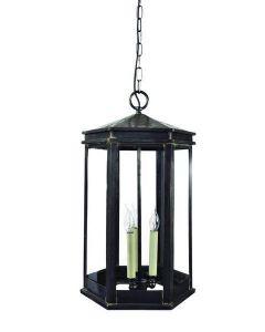734B Medium Solid Brass Metropolitan 3 Light Hanging Lantern