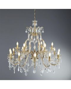Searchlight 1214-18 Marie Therese 18 Light Ceiling Chandelier In Polished Brass