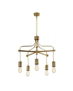 Elstead DOUILLE5 AB Douille 5 Arm Chanderlier Ceiling Light In Aged Brass - Fitting Only