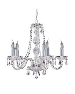 Searchlight 215-5 Hale 5 Light Crystal Chandelier Light In Polished Chrome
