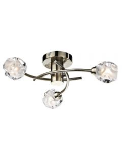 Dar SEA5375 Seattle 3 Light Semi Flush Light in Antique Brass