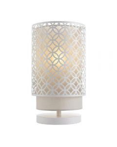 Endon 81030 Gilli 1 Light Table Light In Matt White And Pale Grey Cotton