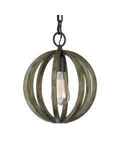 FE/ALLIER/P WW Allier 1 Light Oak Wood and Iron Mini Pendant