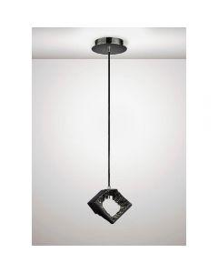 Diyas IL80068 Salvio 1 Light Square Pendant Light In Chrome And Black