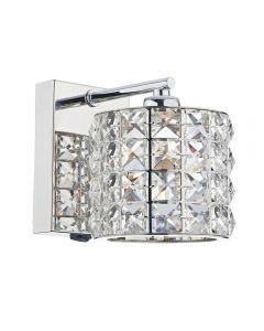 Dar AGN0750 Agneta 1 Light Chrome Crystal Switched Wall Light