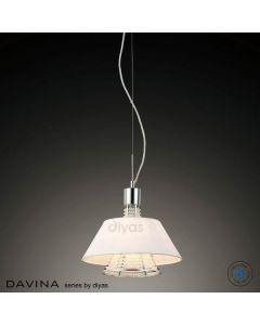 IL30042/WH Davina 2 Light Chrome, Crystal And White Pendant