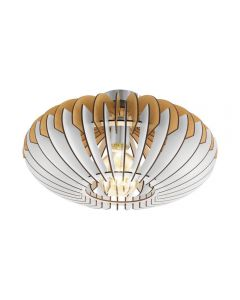 Eglo 96961 Sotos One Light Flush Ceiling Light In Wood, Natural And White