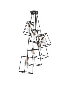 Dar TOW0622 Tower 6 Light Cluster Ceiling Pendant in Matt Black with Copper Lamp Holders