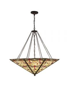 Interiors 1900 64077 Dragonfly Beige Tiffany Mega Panel Inverted 8 Light Ceiling Light