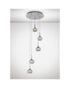 Diyas IL31508 Chelsie 5 Light Round Pendant In Polished Chrome
