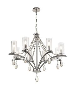 Diyas IL32798 Rhea 8 Light Multi Arm Ceiling Pendant In Polished Chrome With Clear Glass Shades