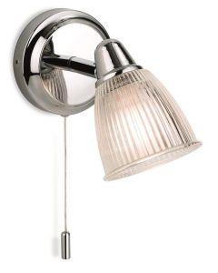Firstlight 3747CH Echo 1 Light Bathroom Wall Light In Chrome, Glass Shade