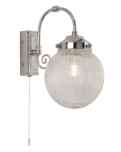 Searchlight 3259CC Belvue Bathroom One Light Wall Light In Chrome With Frosted Glass