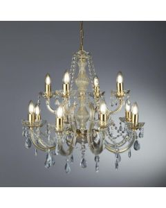 Searchlight 699-12 Marie Therese 12 Light Ceiling Chandelier In Polished Brass