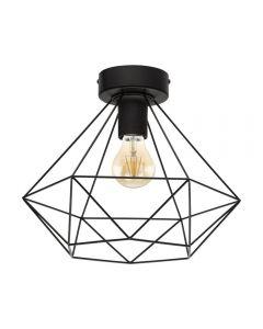 Eglo 43004 Tarbes 1 Light Semi Flush Ceiling Light In Black