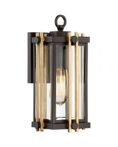 QZ/GOLDENROD2/S Golden Rod Small Outdoor Wall Lantern In Bronze - H: 324mm