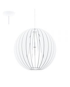 Eglo 94439 Cossano One Light Ceiling Pendant Light In White Wood - Dia: 500mm