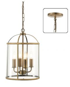 Endon 69455 Lambeth 4 Light Ceiling Pendant In Antique Brass And Clear Glass