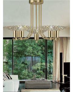 Diyas IL20602 Ellen Satin Brass And Crystal Ceiling Pendant Light