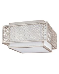 FE/KENNEY/F Kenney 2 Light Flush Ceiling Light In Sunrise Silver