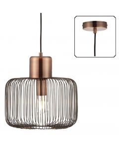 Endon 68986 Nicola 1 Light Square Ceiling Pendant In Antique Copper
