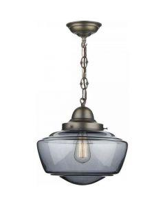 David Hunt Lighting STO0110 Stowe 1 Light Antique Brass Smoked Glass Ceiling Pendant