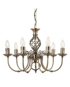 Barley 7 Light Classic Knot Twist Ceiling Light in Antique Brass