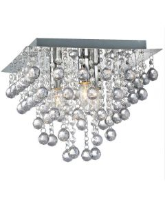 Palazzo 3 Light Square Acrylic Flush Ceiling Chandelier In Polished Chrome