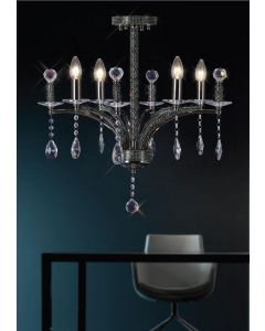 Diyas IL30364 Fiore Black Chrome and Crystal Chandelier