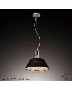 IL30042/BL Davina 2 Light Chrome, Crystal And Black Pendant